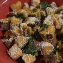 Steamy-saute- Sweet Potatoes with sesame seeds and Cilantro Lime Herb Salsa