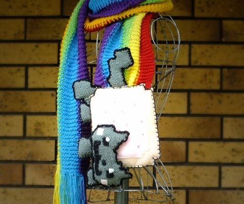 Nyan Cat Scarf Knitted