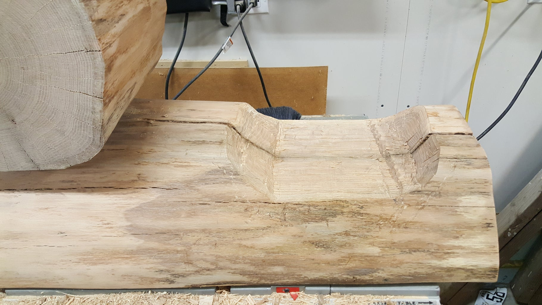 Carving the Step in the Bench