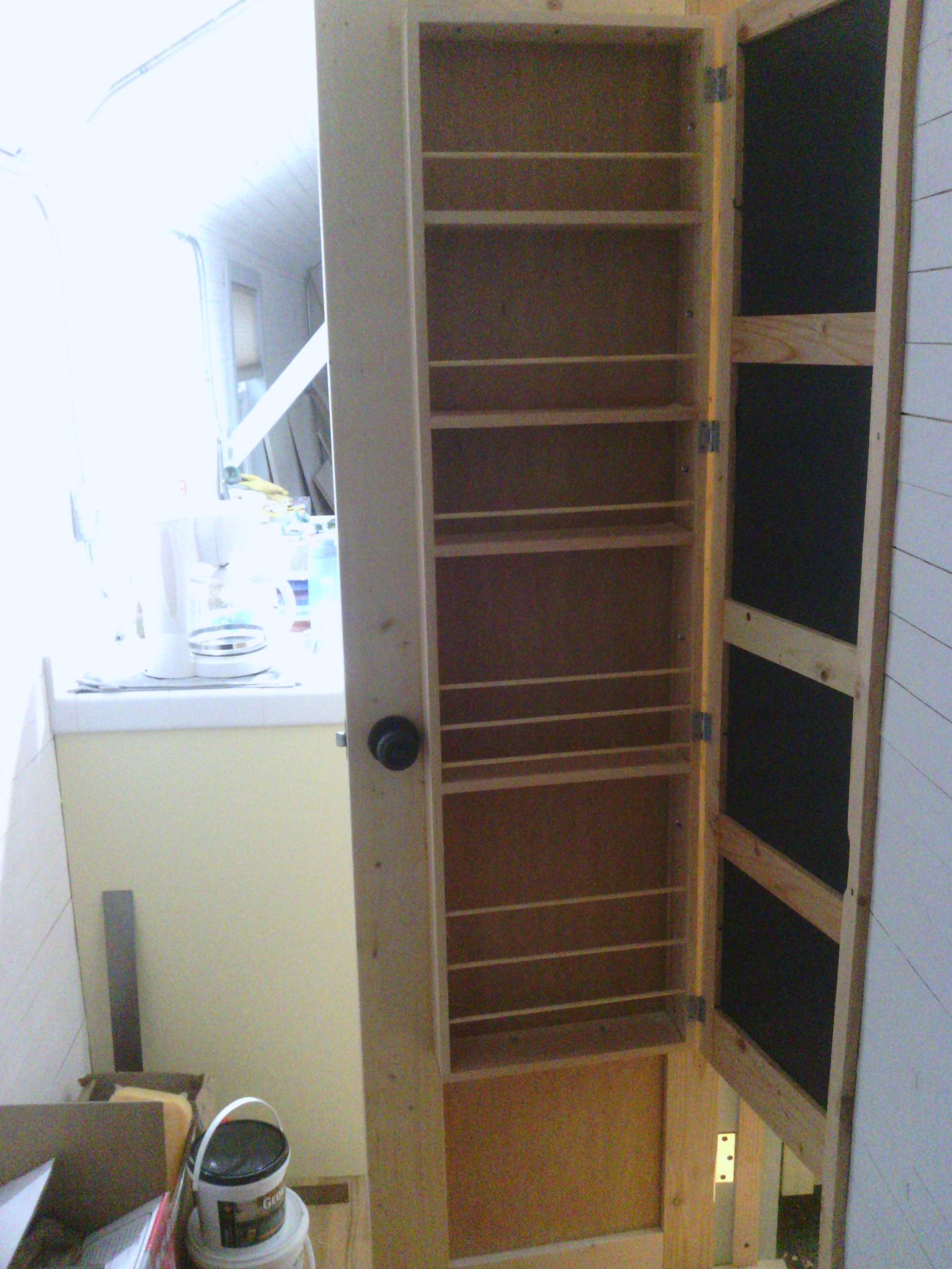 Space saving bathroom door-closet-mirror