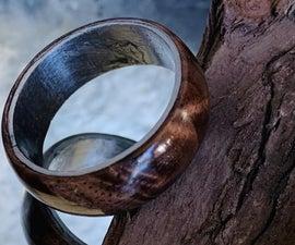 Handmade Walnut and Steel Ring