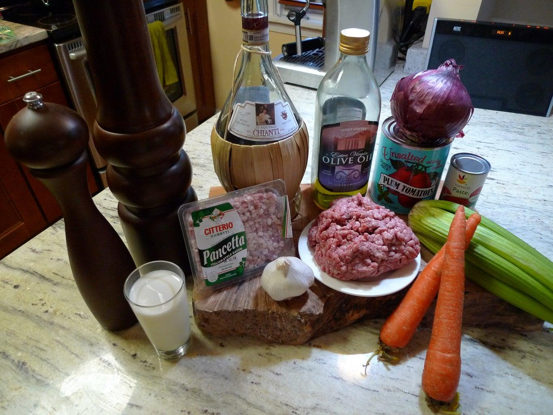 Ingredients for Ragu Alla Bolognese