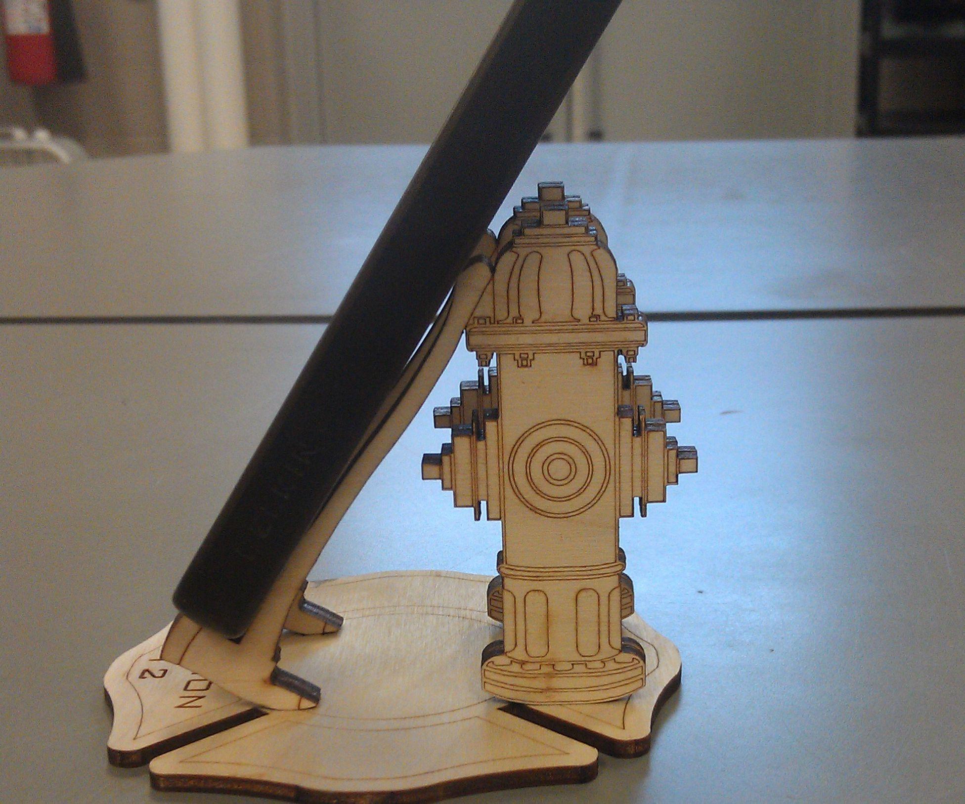 Laser Cut Firemans Phone Stand