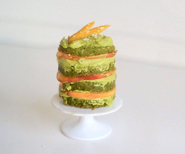 Layered Matcha Mug Cake With Peach