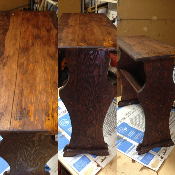 Restoring an Antique End Table With Bookshelf