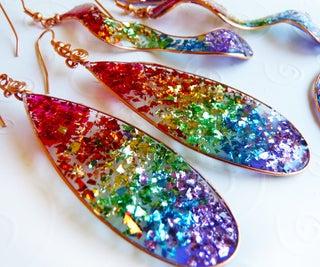 Rainbow Resin Glitter Earrings