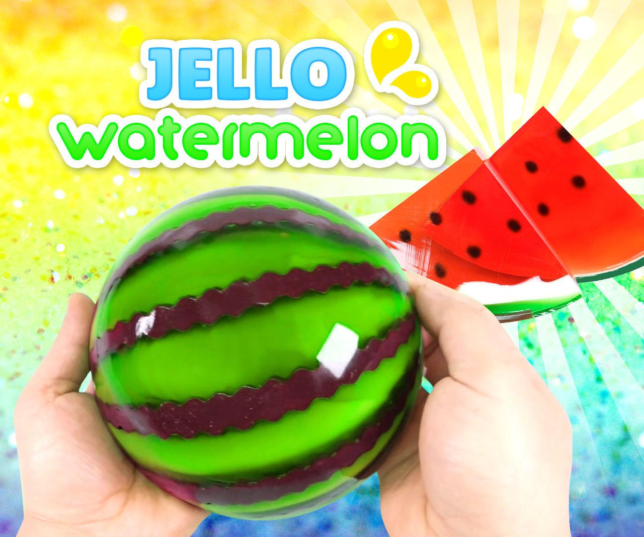 How to Make a Jello Watermelon !! GUMMY JELLO WATERMELON SLICES