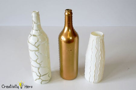 Take the Glue Off of the Bottles. (Method 3: Decorating Bottles With Hot Glue and White Glue)