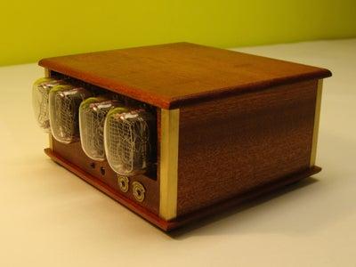 Mahogany & Brass Nixie Clock (with IR and UART Control)