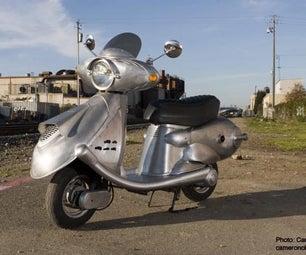 """Quicksilver"" Retro-Future Scooter From Appliances and Scrap Metal"