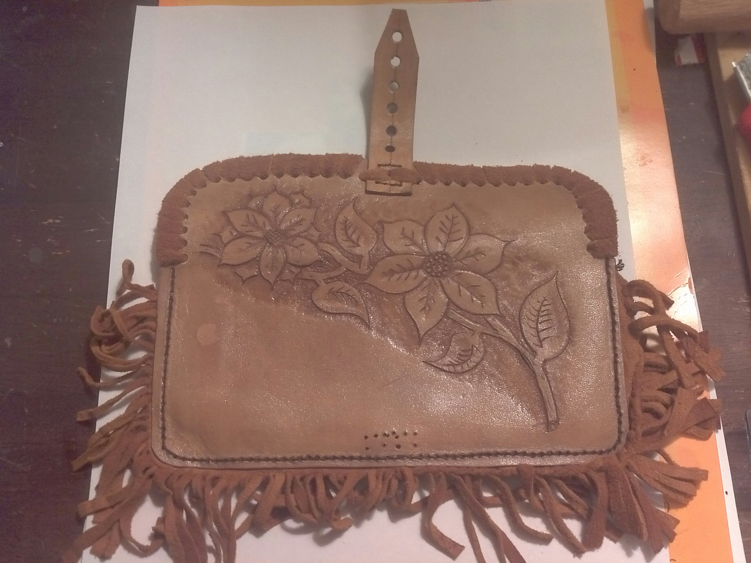 Handmade leather pouch for x-mas gift