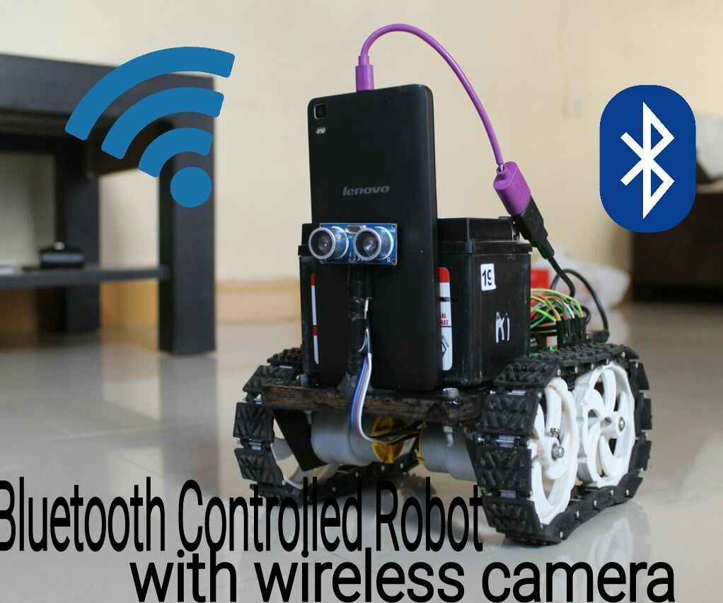 Bluetooth controlled robot with spy wireless camera