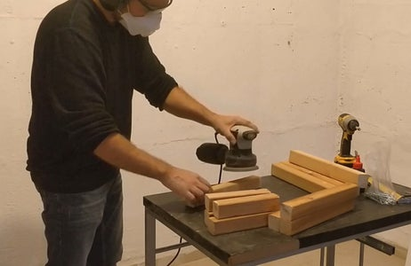 Sanding the Stool Body Parts