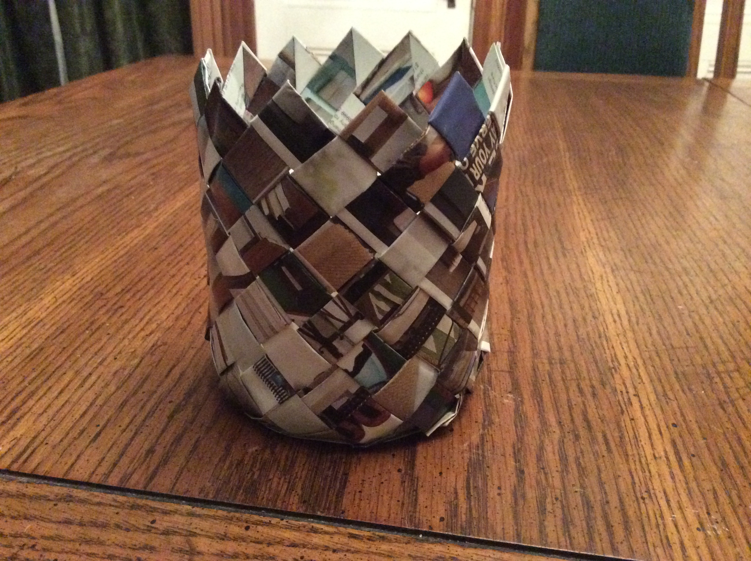 Diagonal Weave Catalog Basket - Cylinder Shaped