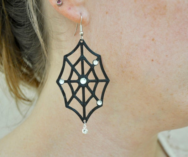 Rhinestone and 3D Print Spider Web Earrings