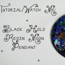 Black Holo Moon Pendant