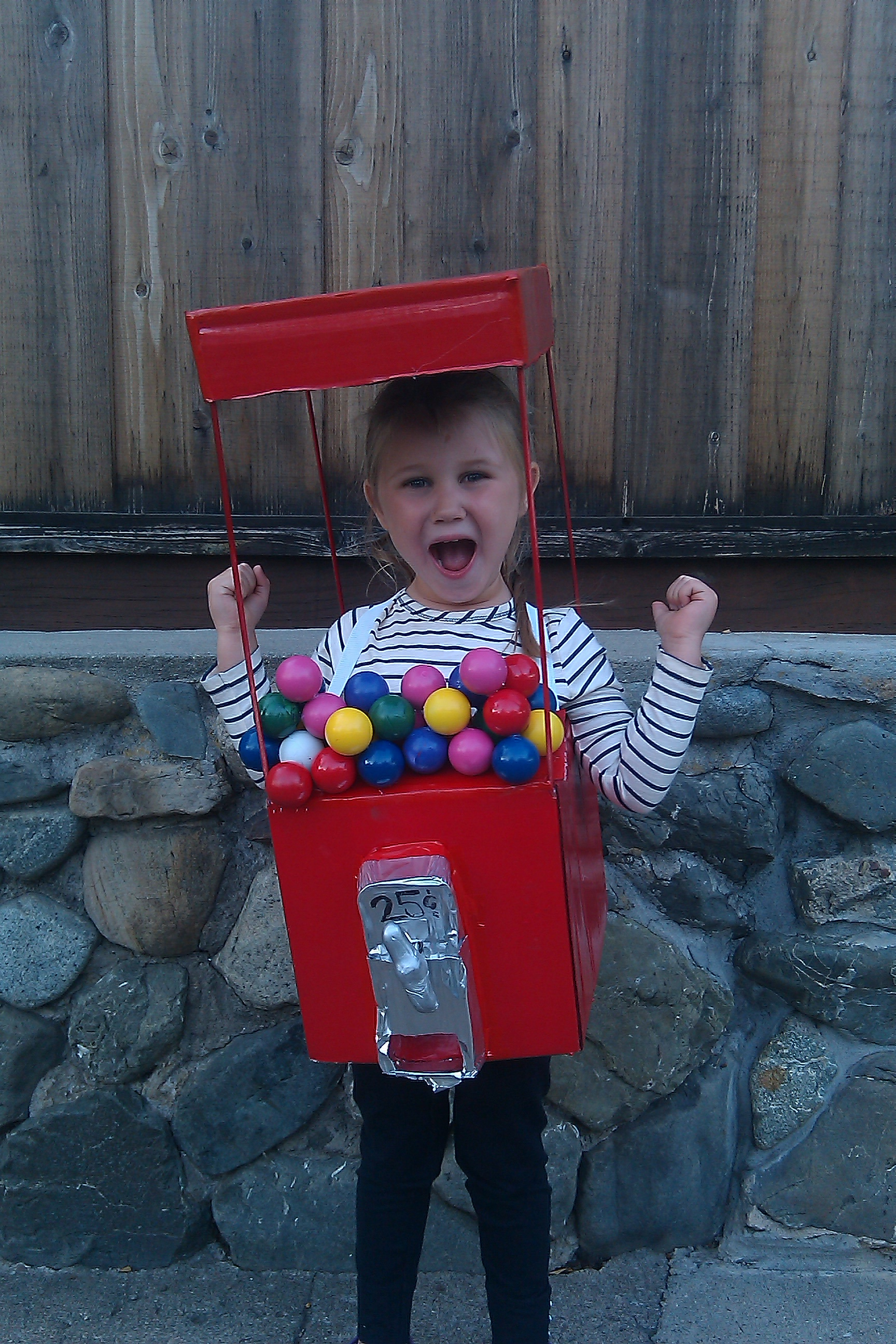 Gumball Machine Costume that Actually Dispenses Real Gumballs