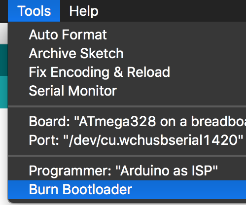 How to burn the Arduino BootLoader on to a AtMega328p chip