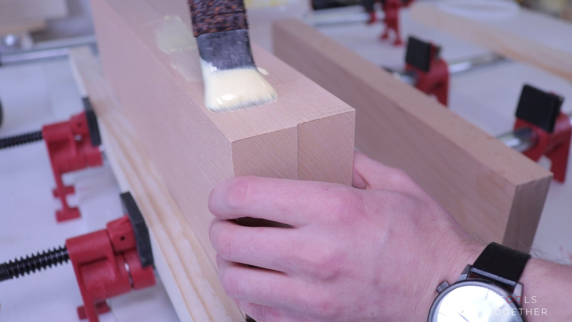 Gluing the Wood for the Bench Leg