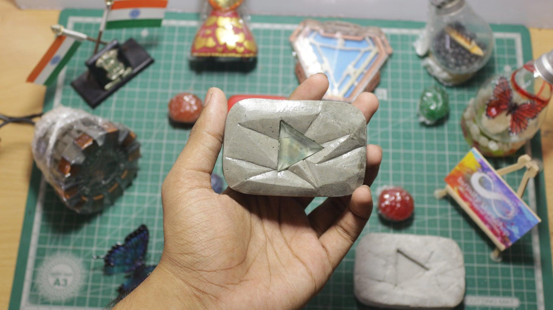 Concrete Youtube Diamond Play Button Paperweight
