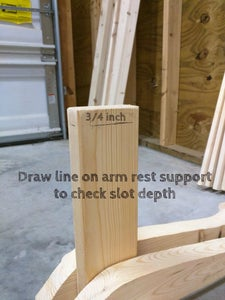 Cut Out Slot on Underside of Arm Rests for Vertical Support.