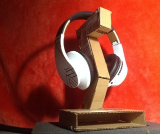 Cardboard & Hot Glue Headphone Stand Prototype