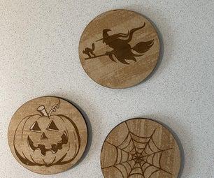 Halloween Themed Wooden Coasters