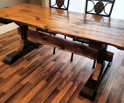 Reclaimed Oak Trestle Table