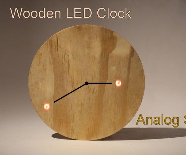 Wooden LED Clock - Analog Style