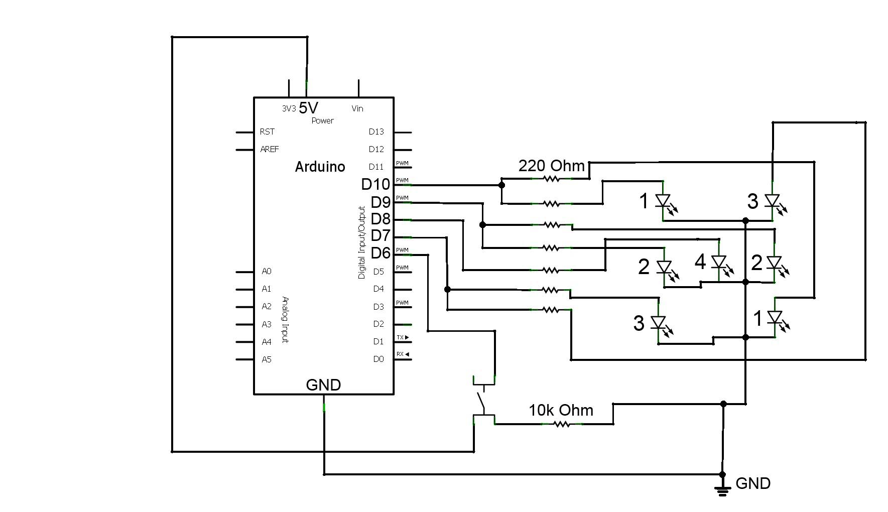 Electronic Dice Circuit Wiring Diagrams Library Ac Fan Speed Control Http Wwwseekiccom Circuitdiagram 555 Arduino Led 9 Steps With Pictures