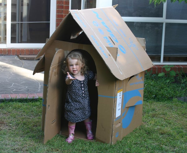 Free Childrens Cardboard Box Playhouse (Flat-packable)