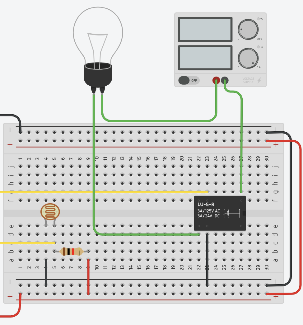 Step 2: Add the Relay, Wires, Power Supply, and Resistors