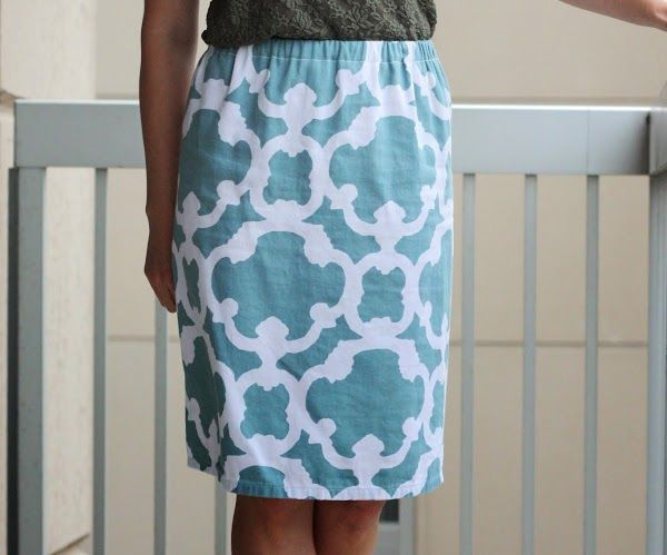 Refashioned (New) Shower Curtain to Skirt