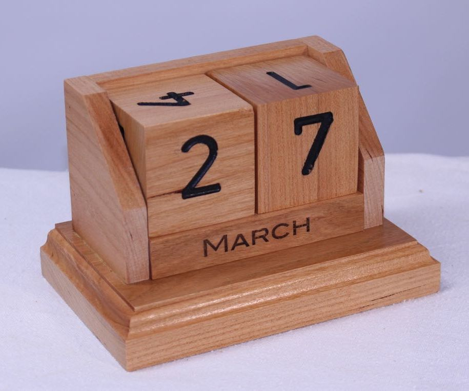 Perpetual Desk Calendar in Cherry