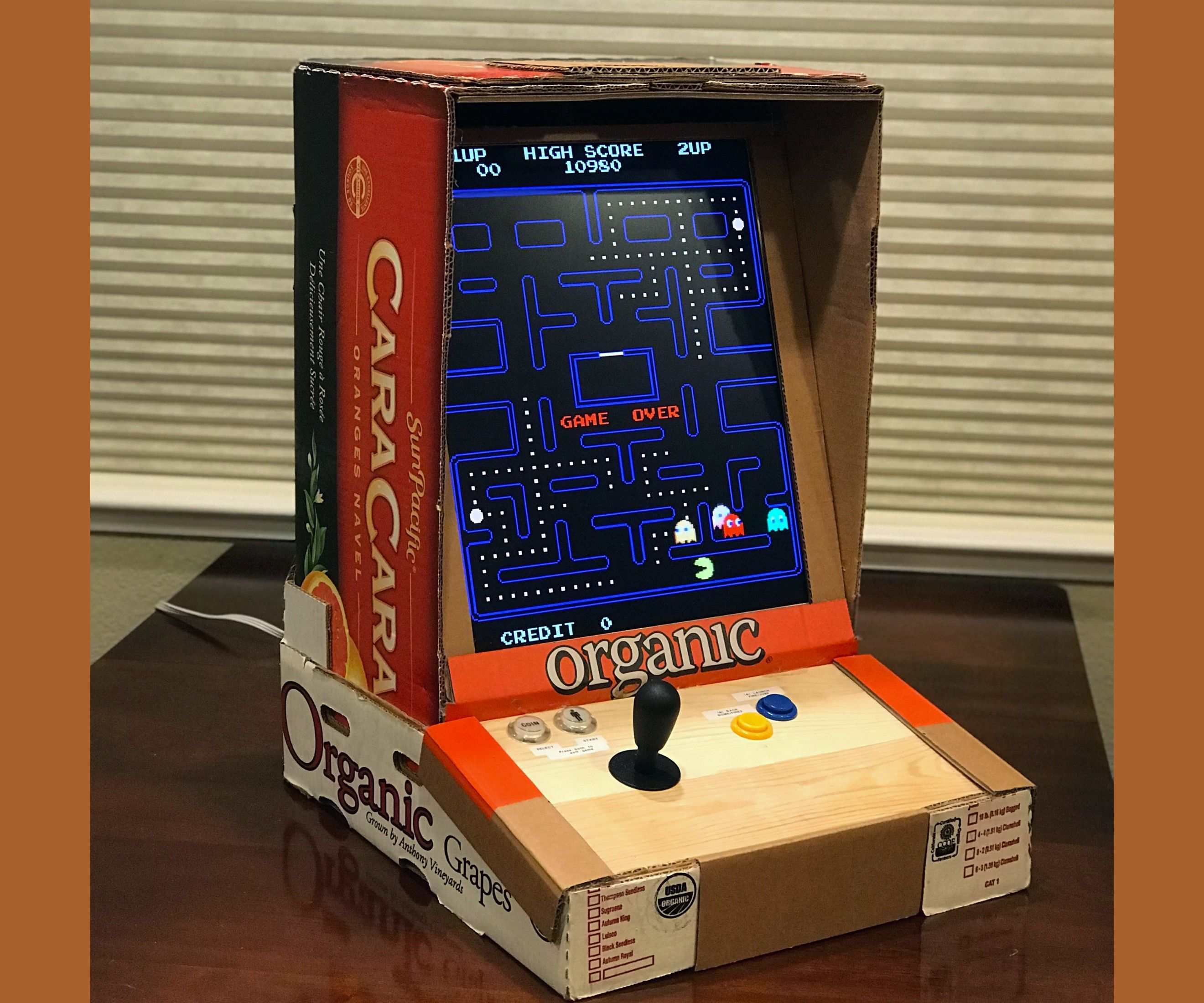 RetroPie Cardboard Bartop/Desktop Arcade Machine