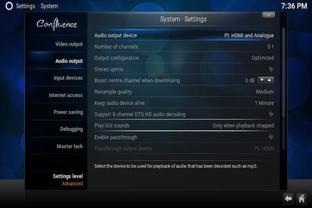 Change Audio Output (at Kodi)