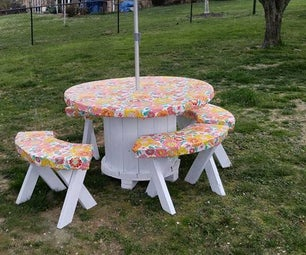 Reclaimed Cable Spool Into Cheap Picnic Table