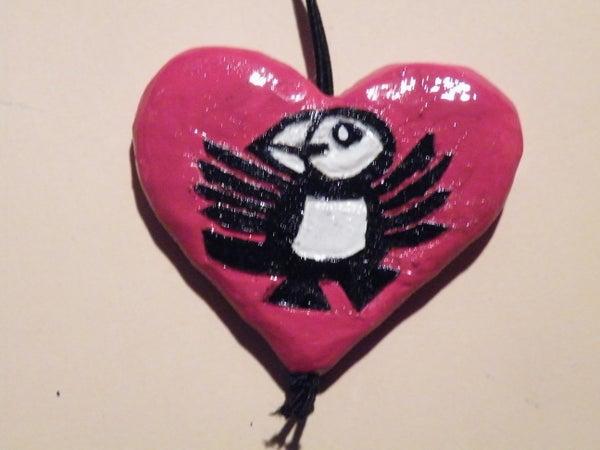 Valentine's Puffin Mirror-Charm