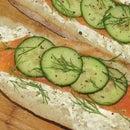 Salmon and Cucumber Ciabatta Sandwich