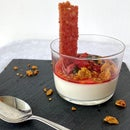 Cereal Milk Panna Cotta With Strawberries