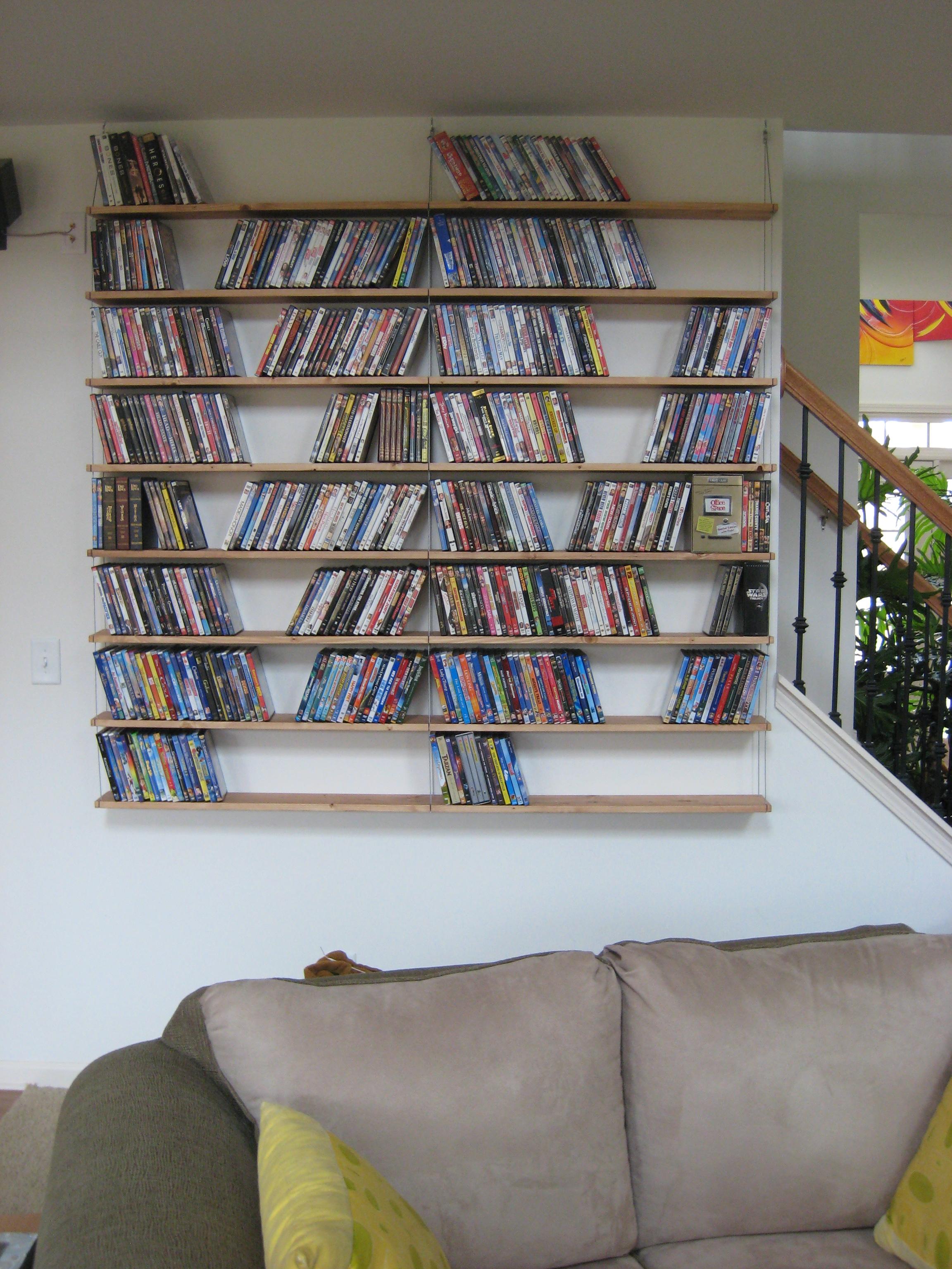 Industrial looking hanging media shelves