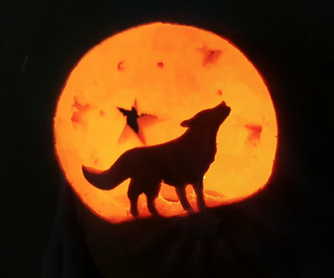 Pumpkin Carving of a Wolf