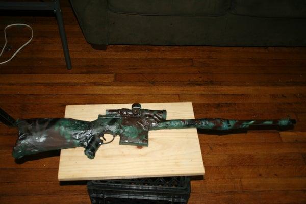 Cardboard Rifle With Camo Paint