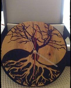 Yin Yang/ Qigong Pyrograved Clock