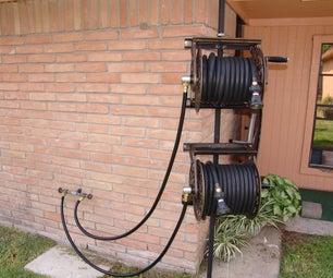 Dual Swiveling Pole Mounted Garden Hose Reels