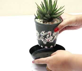 PLANTER FROM USED LASSI CLAY POT
