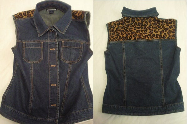 Adding a Fabric Panel to a Denim Vest, All With Out Sewing!