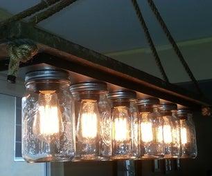 Mason Jar 6 Light Edison Hanging Lamp