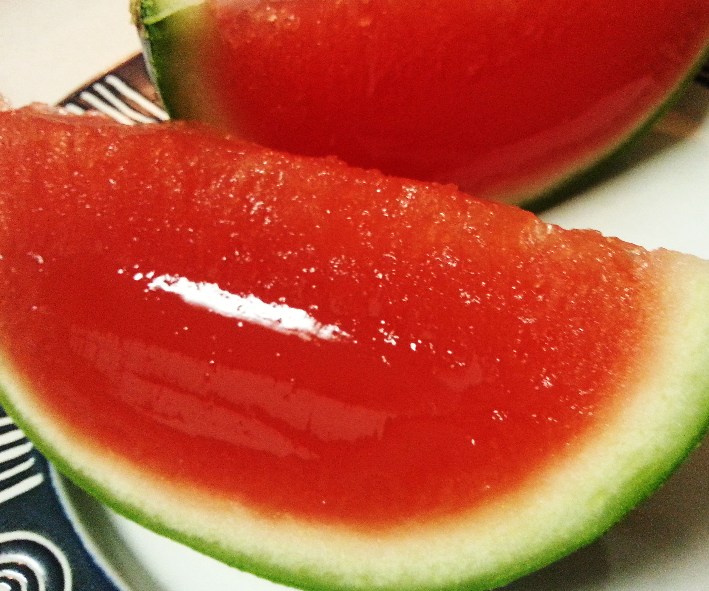 Watermelon jello shot slices