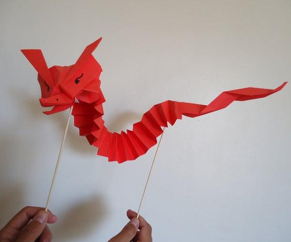 Tiny Origami Dragon Puppet  / Pequeño Dragón Marioneta De Origami
